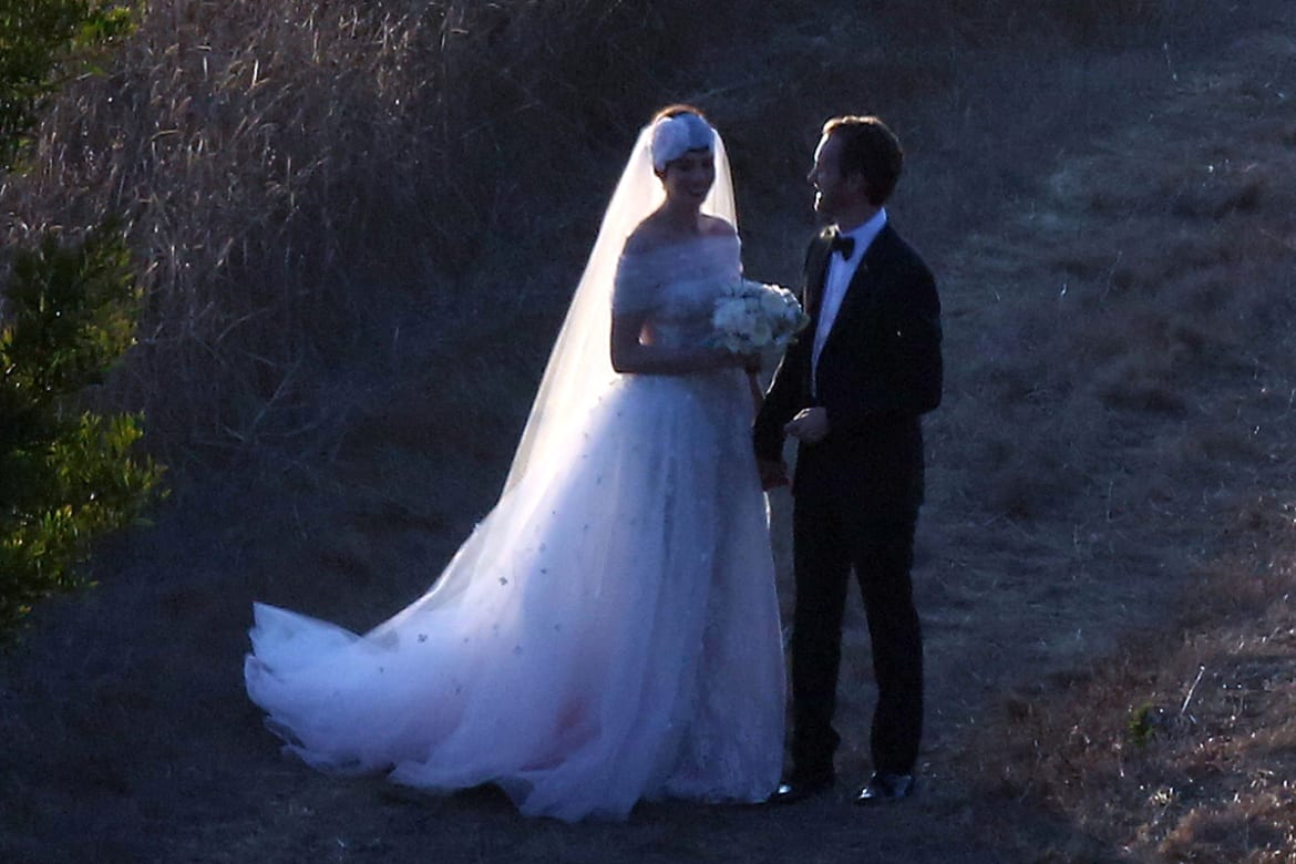 Anne hathaway weds in valentino valentino garavani and anne hathaway have long been friends she wore a dress of his to the oscars and recently attended his debut at the new york city junglespirit Gallery