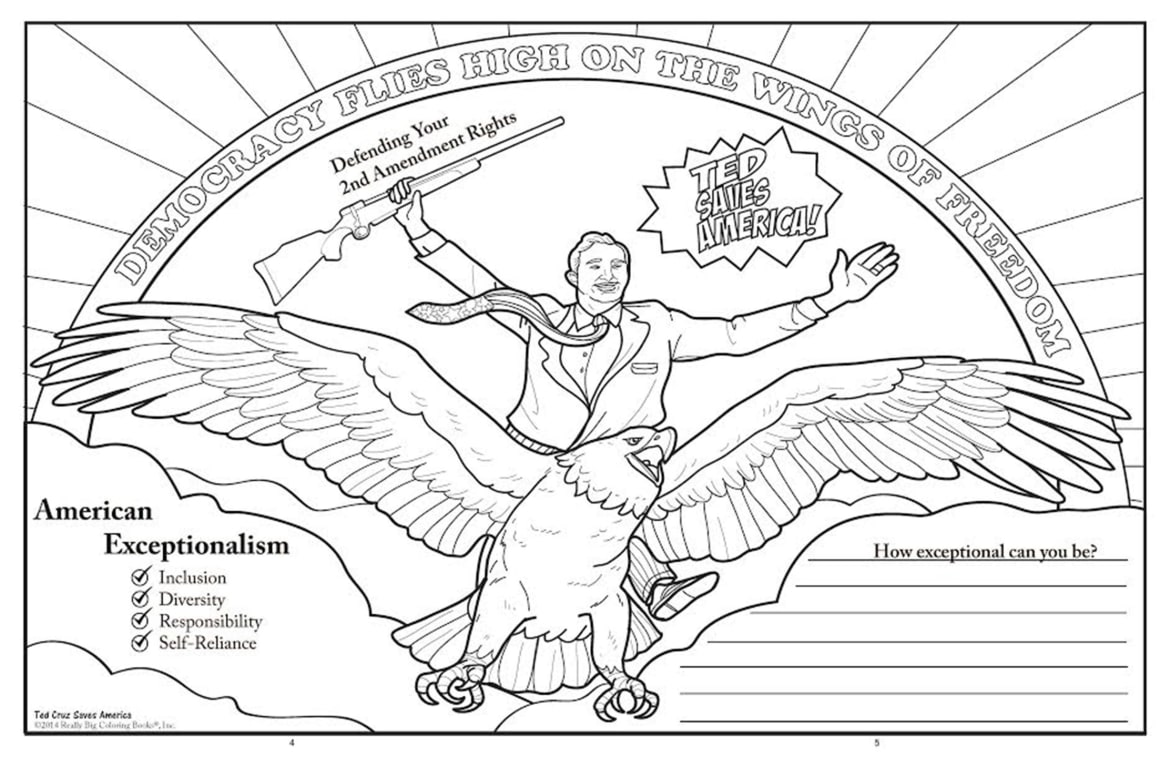 ted cruz saves america in this right wing coloring book