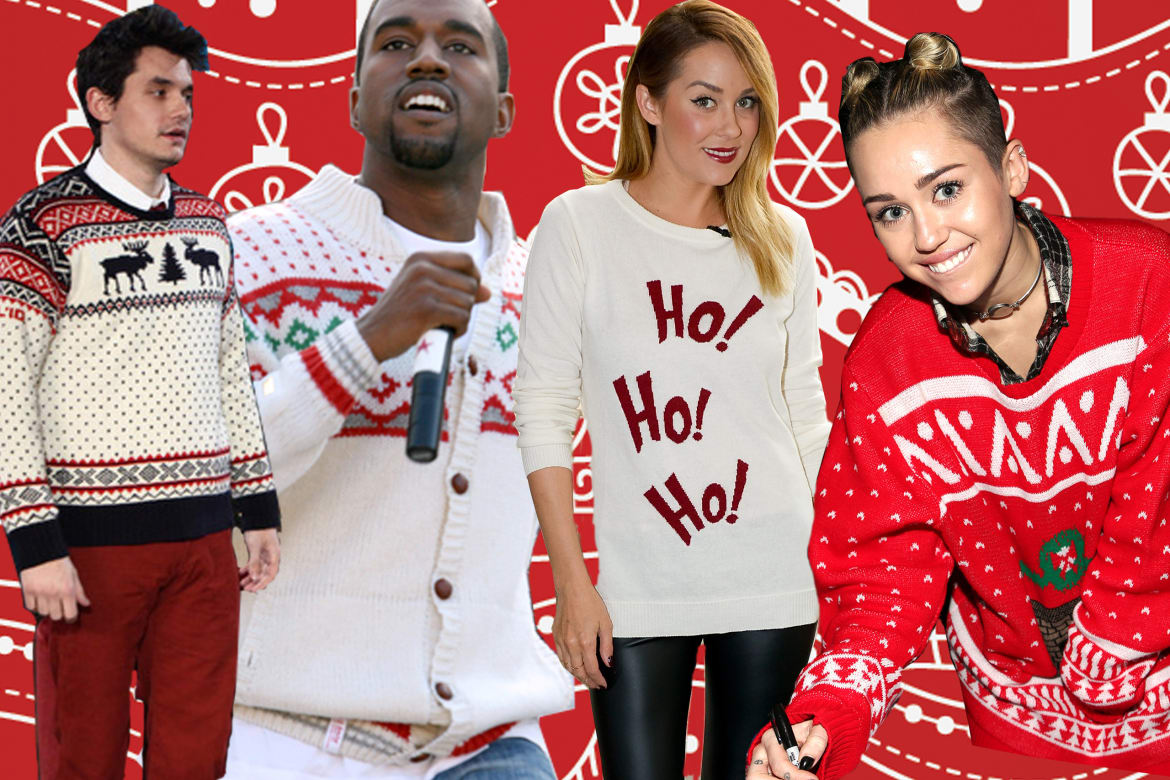 Miley Cyrus and Other Celebrities in Ugly Christmas Sweaters (Photos)